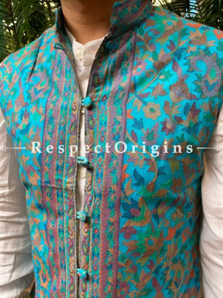 Paisley Jamavar Band-gala Nehru Jacket with Cloth-buttons in Blue; RespectOrigins.com