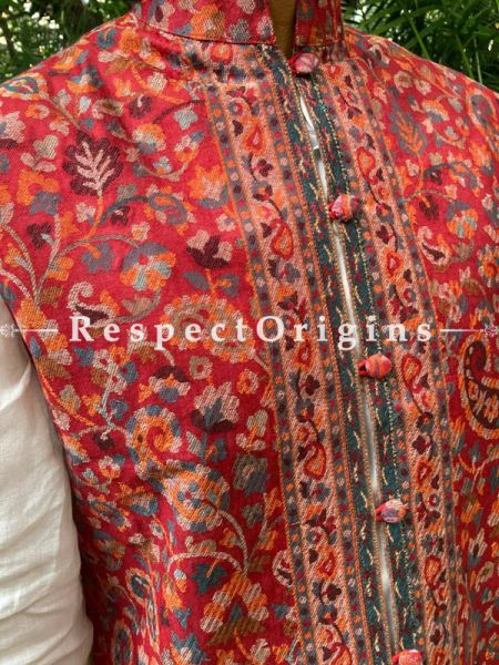 Red Paisley Jamavar Band-gala Nehru Jacket with Cloth-buttons in Red Color; RespectOrigins.com