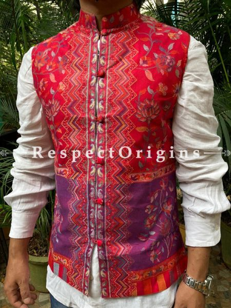 Red Paisley Jamavar Band-gala Nehru Jacket with Cloth-buttons; RespectOrigins.com