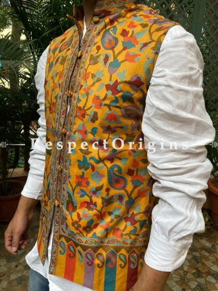 Yellow Paisley Jamavar Band-gala Nehru Jacket with Cloth-buttons; RespectOrigins.com