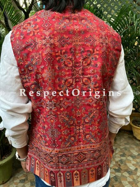Paisley Jamavar Red Band-gala Nehru Jacket with Cloth-buttons; RespectOrigins.com