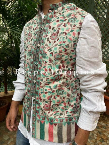 Cream Paisley Jamavar Band-gala Nehru Jacket with Cloth-buttons; RespectOrigins.com