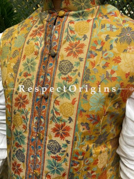 Paisley Jamavar Yellow Band-gala Nehru Jacket with Cloth-buttons; RespectOrigins.com
