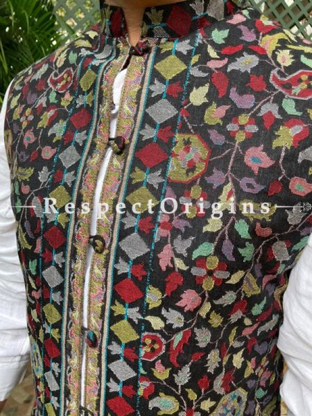 Black Paisley Jamavar Band-gala Nehru Jacket with Cloth-buttons; RespectOrigins.com