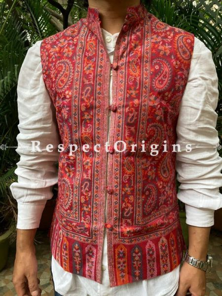 Paisley Jamavar Band-gala Red Nehru Jacket with Cloth-buttons; RespectOrigins.com