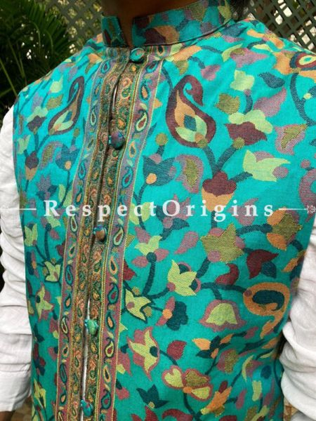 Sea Green Paisley Jamavar Band-gala Nehru Jacket with Cloth-buttons; RespectOrigins.com