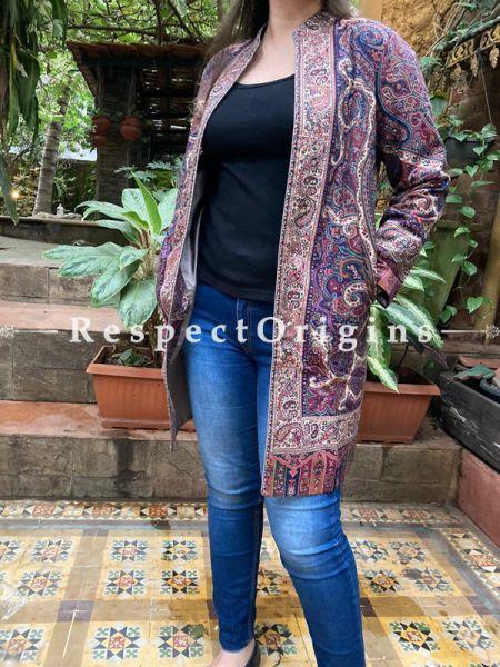 Purple Lavish Formal Ladies Designer Detailing Jamavar Jacket in Wool Blend; Silken Lining; RespectOrigins.com