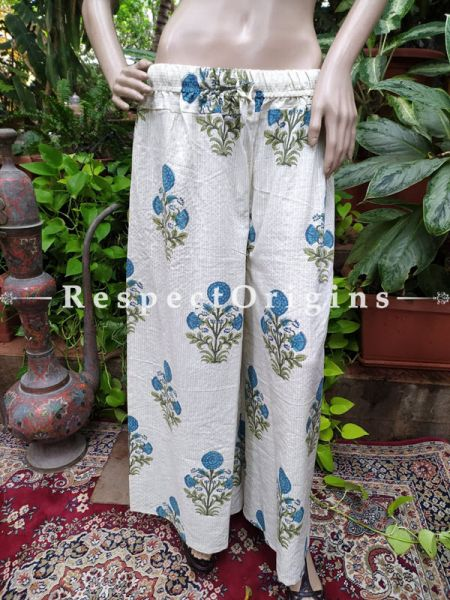 White Block-printed Cotton Palazzo Free Size Elasticated Drawstring Pants for Women; Length 40 Inches ; RespectOrigins.com