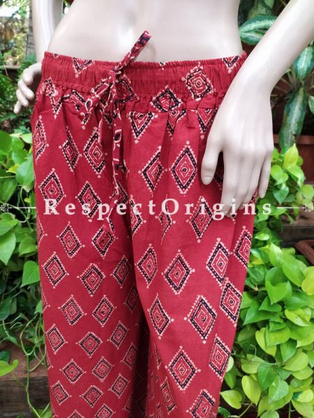 Block-printed Cotton Palazzo Free Size Elasticated Drawstring Pants for Women; Length 40 Inches ; RespectOrigins.com