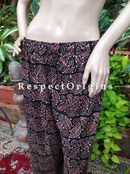 Black Flower Block-printed Cotton Palazzo Free Size Elasticated Drawstring Pants for Women; Length 40 Inches ; RespectOrigins.com