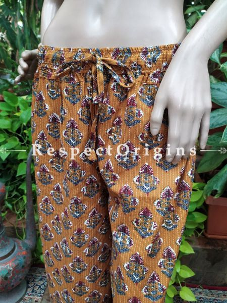 Flower Block-printed Cotton Palazzo Free Size Elasticated Drawstring Pants for Women; Length 40 Inches ; RespectOrigins.com