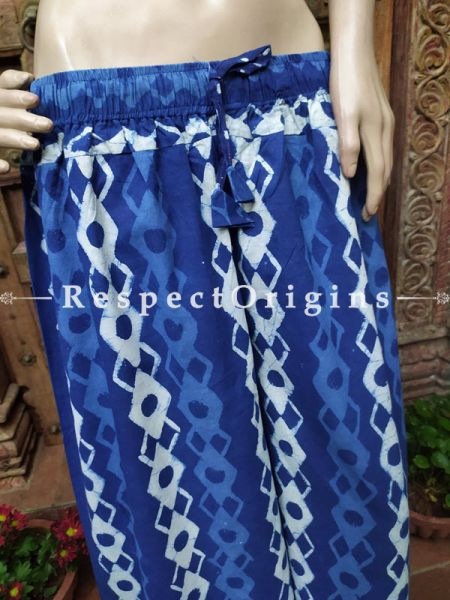 The Indigo Series: Heavenly Blues in Hand Block Prints on Soft Cotton; Elegant Palazzo Pants with Elasticated Waists; Length 40 Inches; RespectOrigins.com