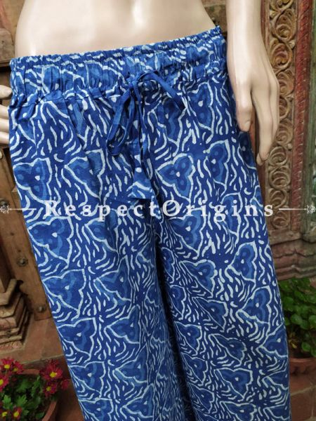 The Indigo Series: Trendy Blues in Hand Block Prints on Soft Cotton; Soft Palazzo Pants with Elasticated Waists s; Length; 40 Inches; RespectOrigins.com