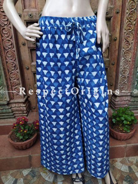 The Indigo Series: Classic Blues in Hand Block Prints on Soft Cotton; Modish Palazzo Pants with Elasticated Waists; Length 40 Inches; RespectOrigins.com