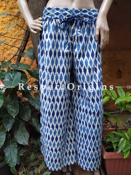 The Indigo Series: Delightful Blues in Hand Block Prints on Soft Cotton; Palazzo Pants with Stripes & Elasticated Waists; Length 40 Inches; RespectOrigins.com