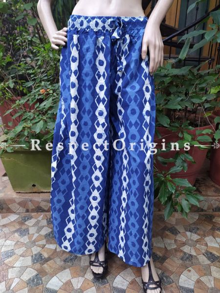 The Indigo Series: Summery Blues in Hand Block Prints on Soft Cotton; Palazzo Pants with Geometrical Design & Elasticated Waists; Length 40 Inches ; RespectOrigins.com