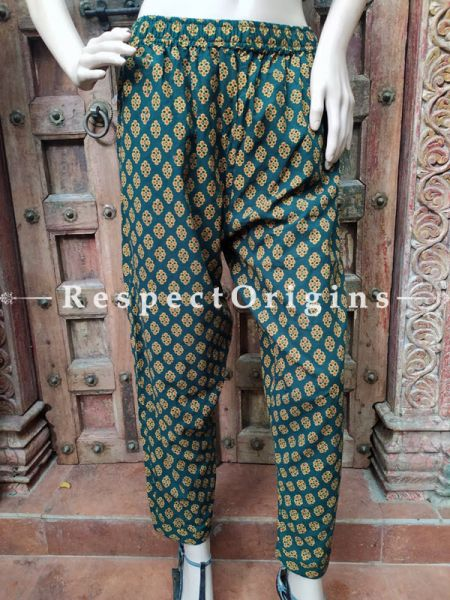 Sea Green Pure Cotton Block Printed Elasticated Waist Harem Pants or Palazzo; Free Size; RespectOrigins.com