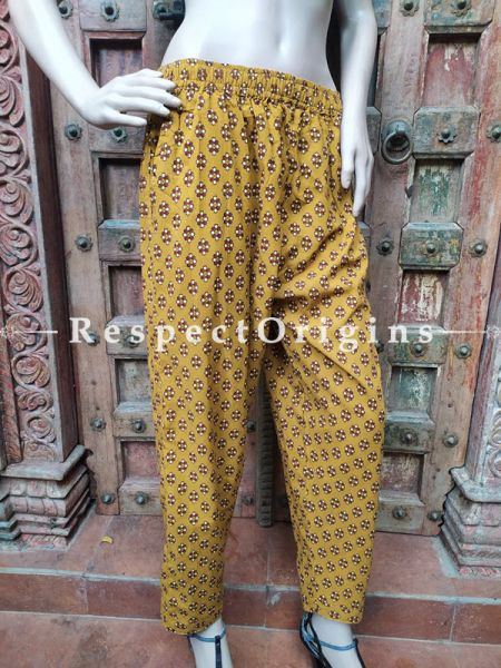 Pure Cotton Block Printed Elasticated Waist Harem Pants or Palazzo in Mustard; Free Size; RespectOrigins.com