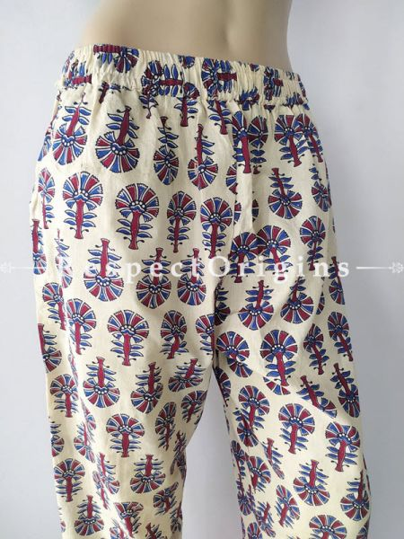 Off White Pure Cotton Block Printed Elasticated Waist Harem Pants or Palazzo; Free Size; RespectOrigins.com