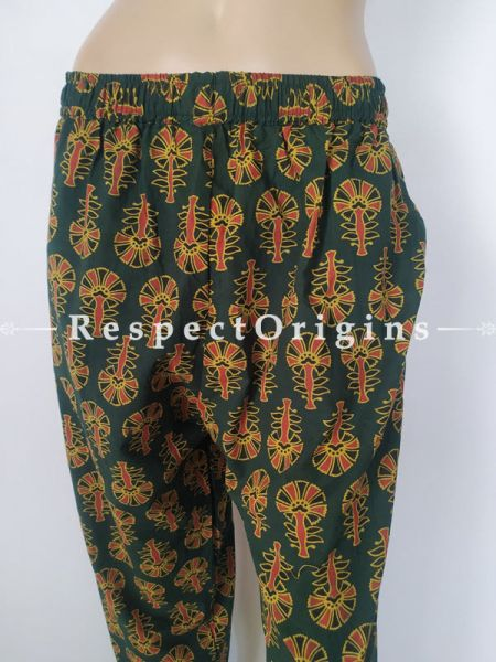 Pure Cotton Block Printed Elasticated Waist Multicolor Harem Pants or Palazzo; Free Size; RespectOrigins.com
