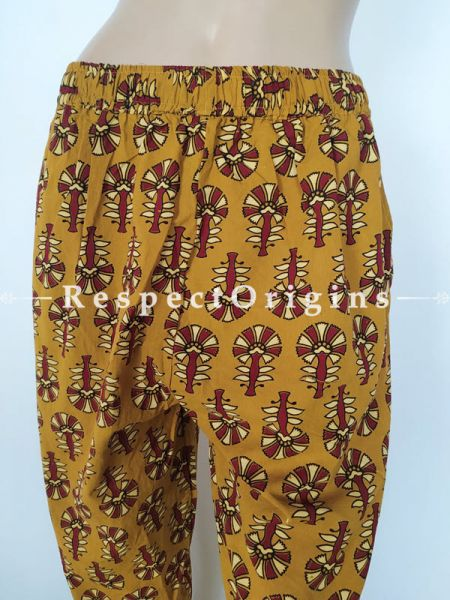 Mustard Pure Cotton Block Printed Elasticated Waist Harem Pants or Palazzo; free size; RespectOrigins.com
