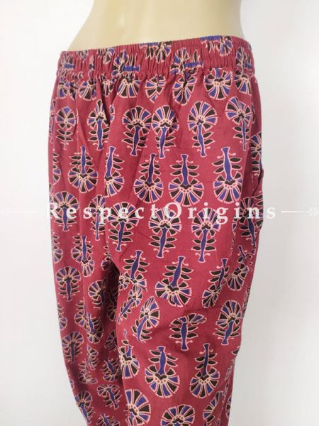 Red Pure Cotton Block Printed Elasticated Waist Harem Pants or Palazzo; Free Size; RespectOrigins.com