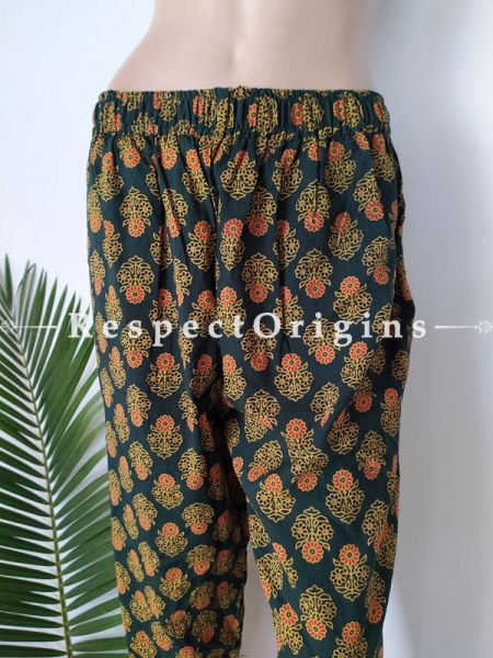 Multicolor Pure Cotton Block Printed Elasticated Waist Harem Pants or Palazzo; Free Size; RespectOrigins.com
