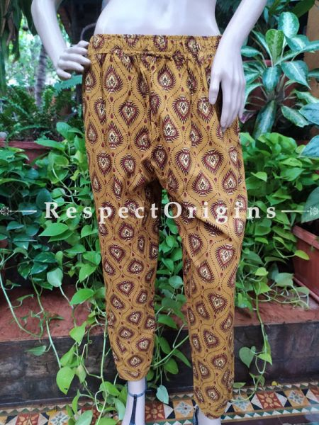 Light Brown Pure Cotton Block Printed Elasticated Waist Harem Pants or Palazzo; Free Size; RespectOrigins.com