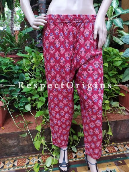 Crimson Red Pure Cotton Block Printed Elasticated Waist Harem Pants or Palazzo; Free Size; RespectOrigins.com