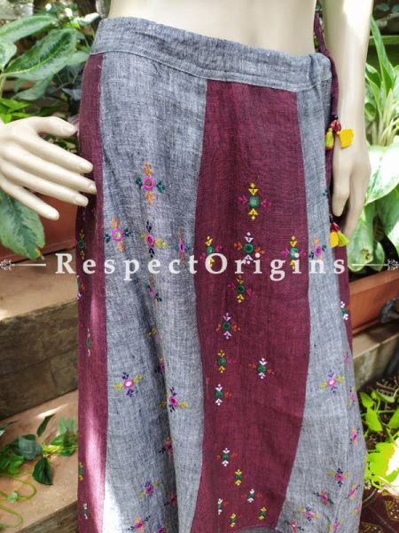 Colorful Hand Block-print Pure Cotton Palazzo Pants for Women; Free size