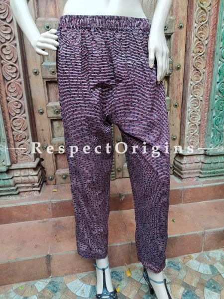 Purple Pure Cotton Block Printed Elasticated Waist Harem Pants or Palazzo; Free Size; RespectOrigins.com