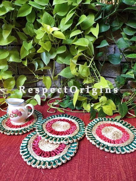 "Jute Place Mat or Hot Plate holder ; Set of 6 Red & Green Organic Eco friendly Jute Round Table Mat 8"";Available in 12 In,8 In Sizes; Respect Origins.com"