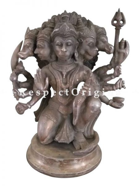Buy Panch Mukhi Hanuman Figurine in Silver and Bronze; 15 inches At RespectOrigins.com