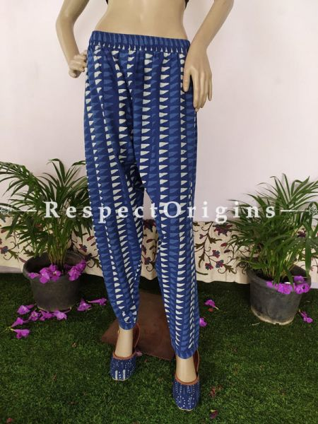 The Indigo Series: Exquisite Blues in Hand Block Prints on Soft Cotton; Casual Palazzo Pants with Elasticated Waists; Length 40 Inches; RespectOrigins.com
