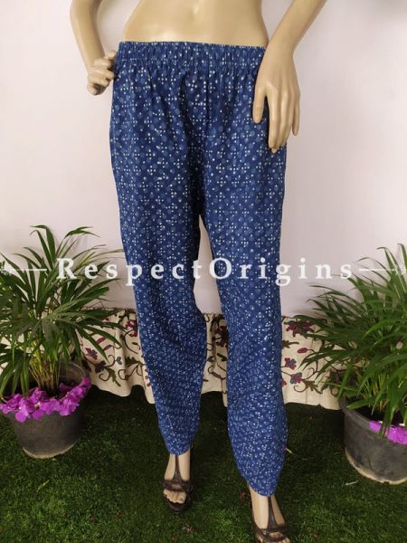 The Indigo Series: Electric Blues in Hand Block Prints on Soft Cotton; Stylish Palazzo Pants with Elasticated Waists; Length 40 Inches; RespectOrigins.com