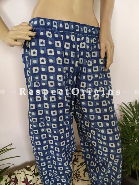 The Indigo Series: Fashionable Palazzo Pants with Elasticated Waists;Magical Blues in Hand Block Prints on Soft Cotton; Length 40 Inches; RespectOrigins.com