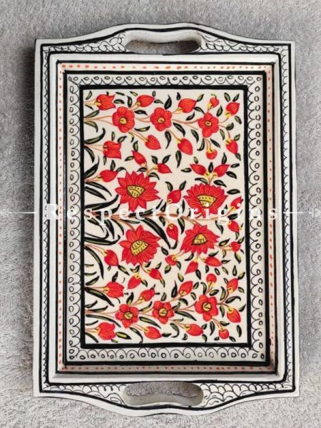 WhitePapier Mache Handpainted Tray With Red Floral Design; 12X6 Inches; RespectOrigins.com