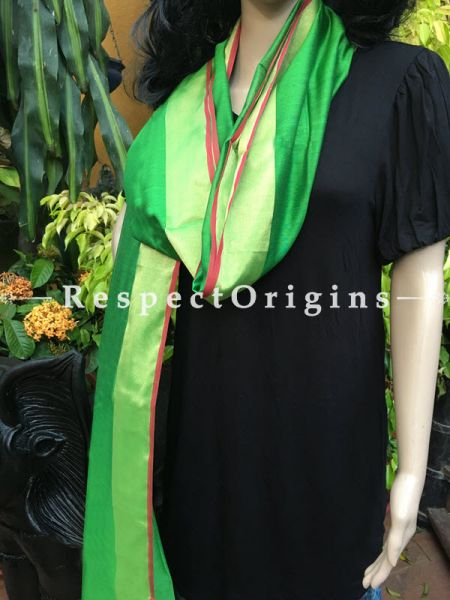 Parrot Green Handloom Maheshwari Cotton silk stole with golden Jute work and red border  It is 50x35 inches; RespectOrigins.com