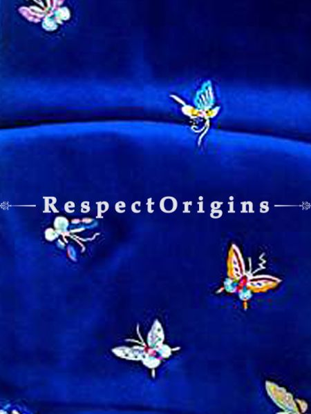 Blue Parsi Gara Embroidery Silk Stole with Butterfly Pattern; RespectOrigins.com