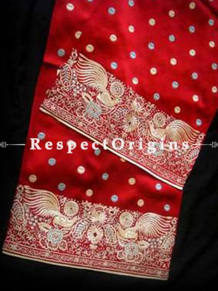 Red Parsi Gara Embroidery Silk Stole with Peacock Border.; RespectOrigins.com