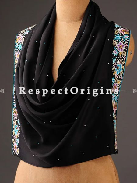 Black Parsi Gara Embroidery Silk Stole with Flower Cluster Pattern.; RespectOrigins.com