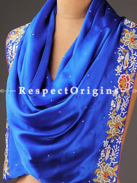 Blue Parsi Gara Embroidery Silk Stole with Multicoloured Flowers (Zinnia); RespectOrigins.com
