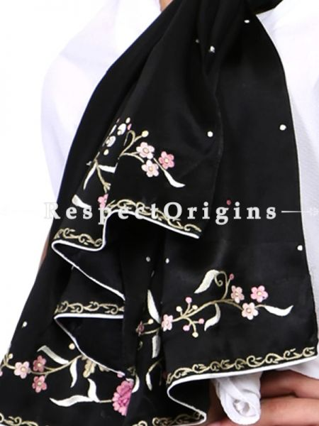 Black Pink Rose Pattern Parsi Gara Embroidered  Silk Stole.; RespectOrigins.com