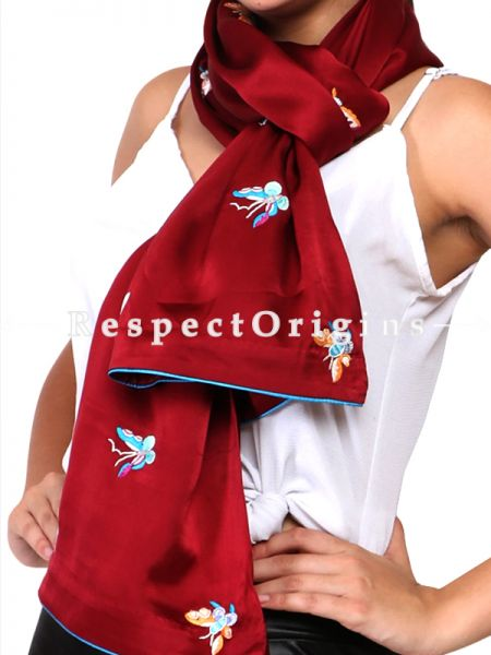 Red Parsi Gara Embroidery Silk Stole  with Butterfly Pattern.; RespectOrigins.com