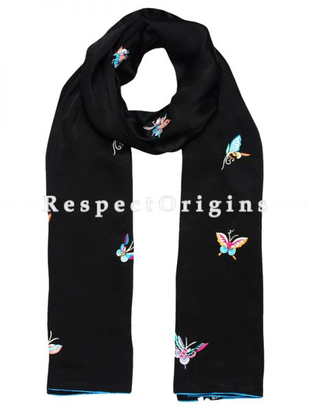 Black Parsi Gara Embroidery Silk Stole with Butterfly Pattern; RespectOrigins.com