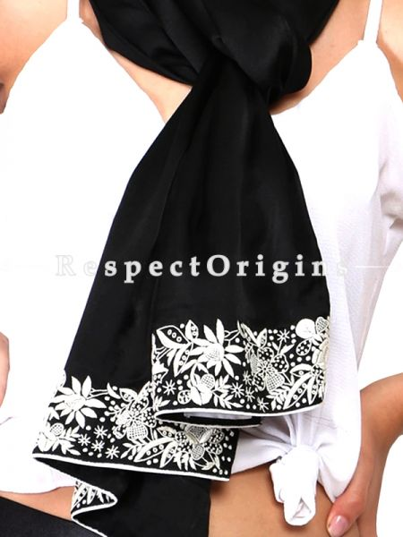 Black Parsi Gara Embroidery Silk Stole with White Flower Pattern.; RespectOrigins.com