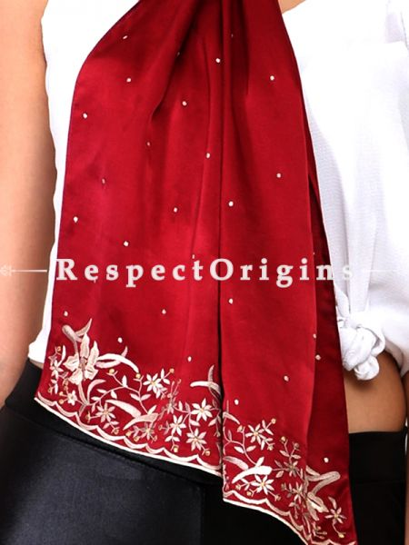 Red White Flower Pattern  parsi Gara Embroidery Silk Stole.; RespectOrigins.com