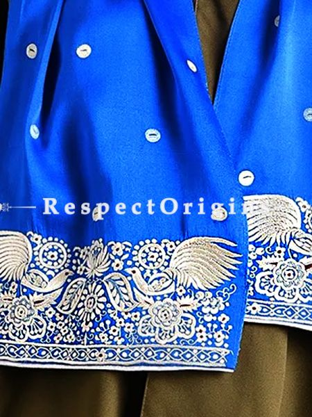 Blue Parsi Gara Embroidery Silk Stole Peacock Border.; RespectOrigins.com