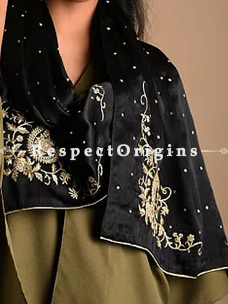 Black Ambi Spray Pattern Parsi gara embroidery Silk Stoles.; RespectOrigins.com