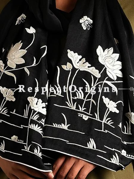 Black Parsi Gara Embroidery Silk Stole with Crane and Lotus in Water Pattern.; RespectOrigins.com